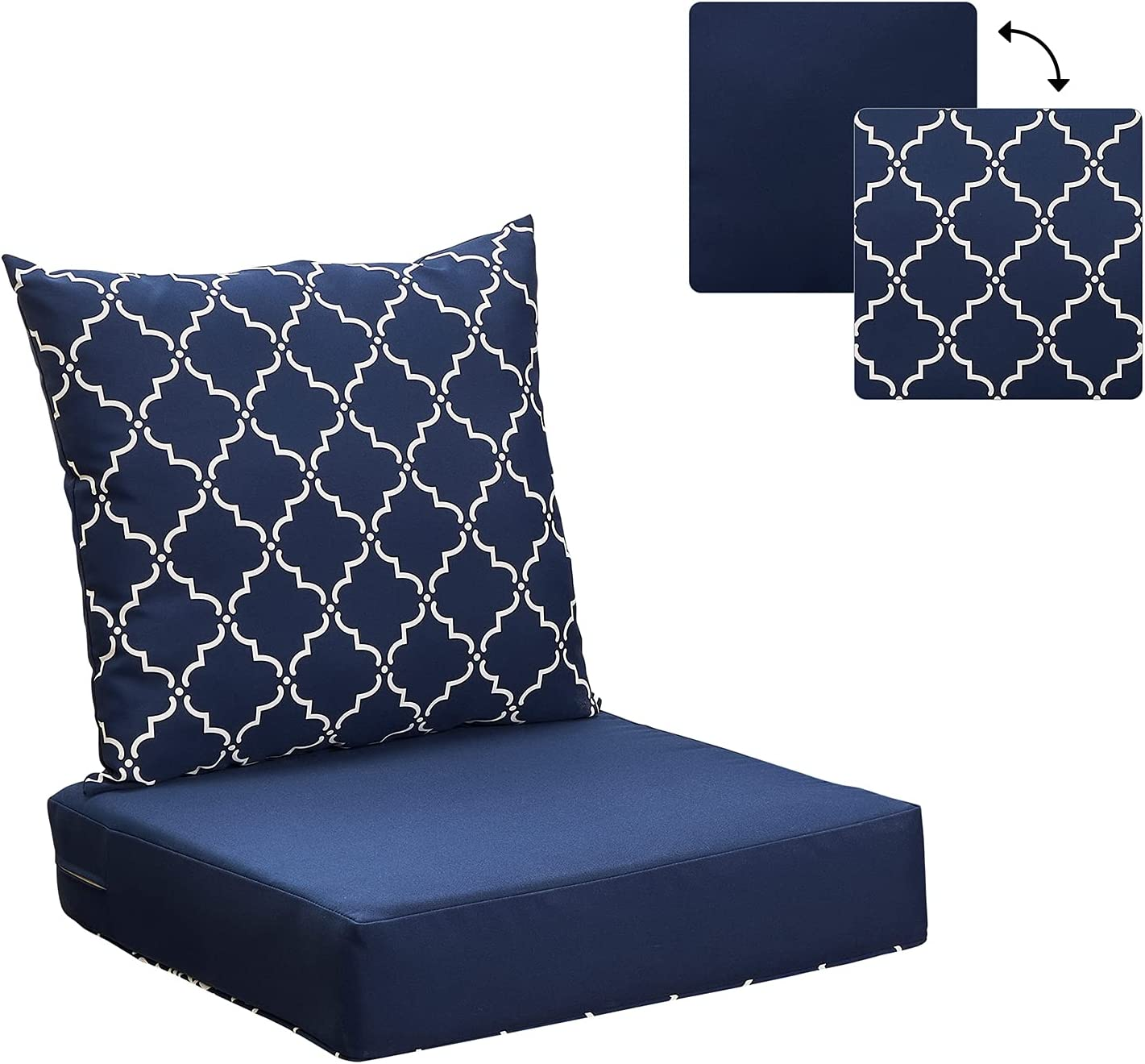 ANONER Outdoor Cushions Set for Patio Furniture 24x24 Replacement Deep Seat Patio Chair Cushions with Reversible Cover, Blue Lattice