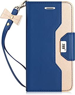 FYY Leather Case with Mirror for iPhone 8/iPhone 7, Leather Wallet Flip Folio Case with Mirror and Wrist Strap for iPhone 8/iPhone 7 DeepSkyblue