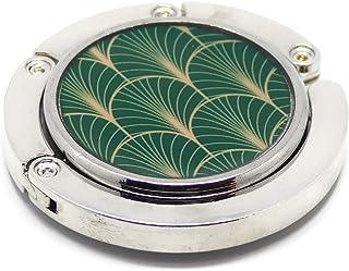 Borsetta in resina verde art deco fan Giappone metallo dorato 4,5 cm regali personalizzati regalo di natale amici complean...