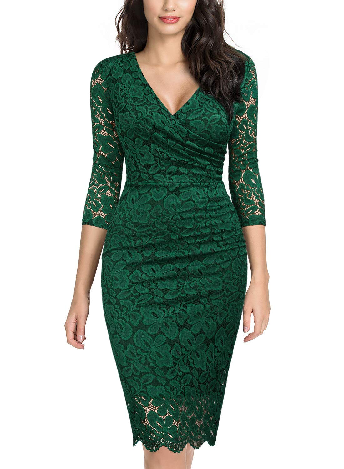 Party Dresses - Women's Retro Deep-V Neck Ruffles Floral Lace Evening Pencil Dress