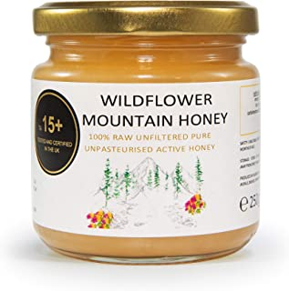 BAL.HONEY Wildflower Active 15+ Mountain Honey 250 gram (8.8 Ounce) glass jar   Raw Natural Unfiltered Unpasteurised Pure