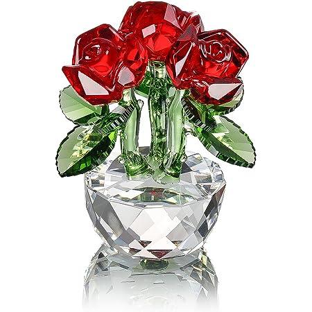 H/&D HYALINE /& DORA Figurine Double Rose en Verre D/écoration de Table D/écoration de Collection