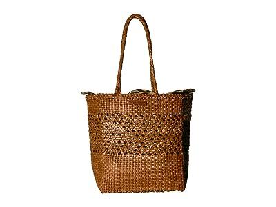 Loeffler Randall Maya Woven Leather Shopper Tote (Timber Brown/Leopard) Tote Handbags