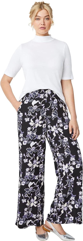 ellos Women's Plus Size Wide-Leg Soft Pants with Back Elastic
