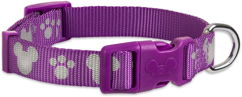 Disney Parks  Tails  Mickey Mouse Reflective Dog Collar  Purple  Medium