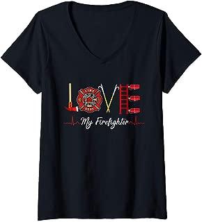 Womens Love My Firefighter Fireman Wife Girlfriend Gift T-Shirt V-Neck T-Shirt