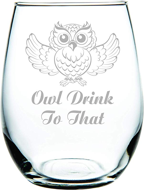 Owl Drink To That Stemless Wine Glass 15 Oz Laser Engraved Packed In Gift Box