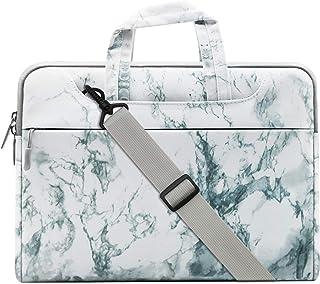 MOSISO Laptop Shoulder Bag Compatible 2018 MacBook Air 13 A1932 Retina Display/MacBook Pro 13 A1989 A1706 A1708 USB-C 2018 2017 2016/Surface Pro 6/5/4/3, Canvas Marble Pattern Briefcase Handbag, White