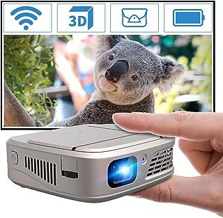 WiFi Mini Pico Projector Wireless with 5200mAh Battery Auto Keystone, Portable DLP LED 3D Movie Projector, HD 1080P Suppor...