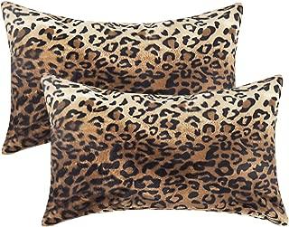 velvet leopard lumbar pillow