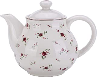 Lonovel Porcelain Teapots with Lids,Vintage Teapot Beautiful Rose Design,Floral Ceramic Tea Pot Large for Kitchen and Dinning,China Teapot for Afternoon Tea or Coffee,Home Decorative Good Gifts,Beige