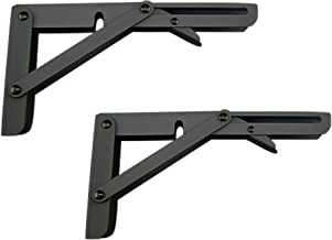 MechWares Folding Bracket For Shelves Tables Long Release Space Saving For Standing Desk Wall-Mounted Drop-Leaf In Kitchen   Laundry Room   Garage   Boat   RV (Black1 Pair/2Pcs) (8 inch)