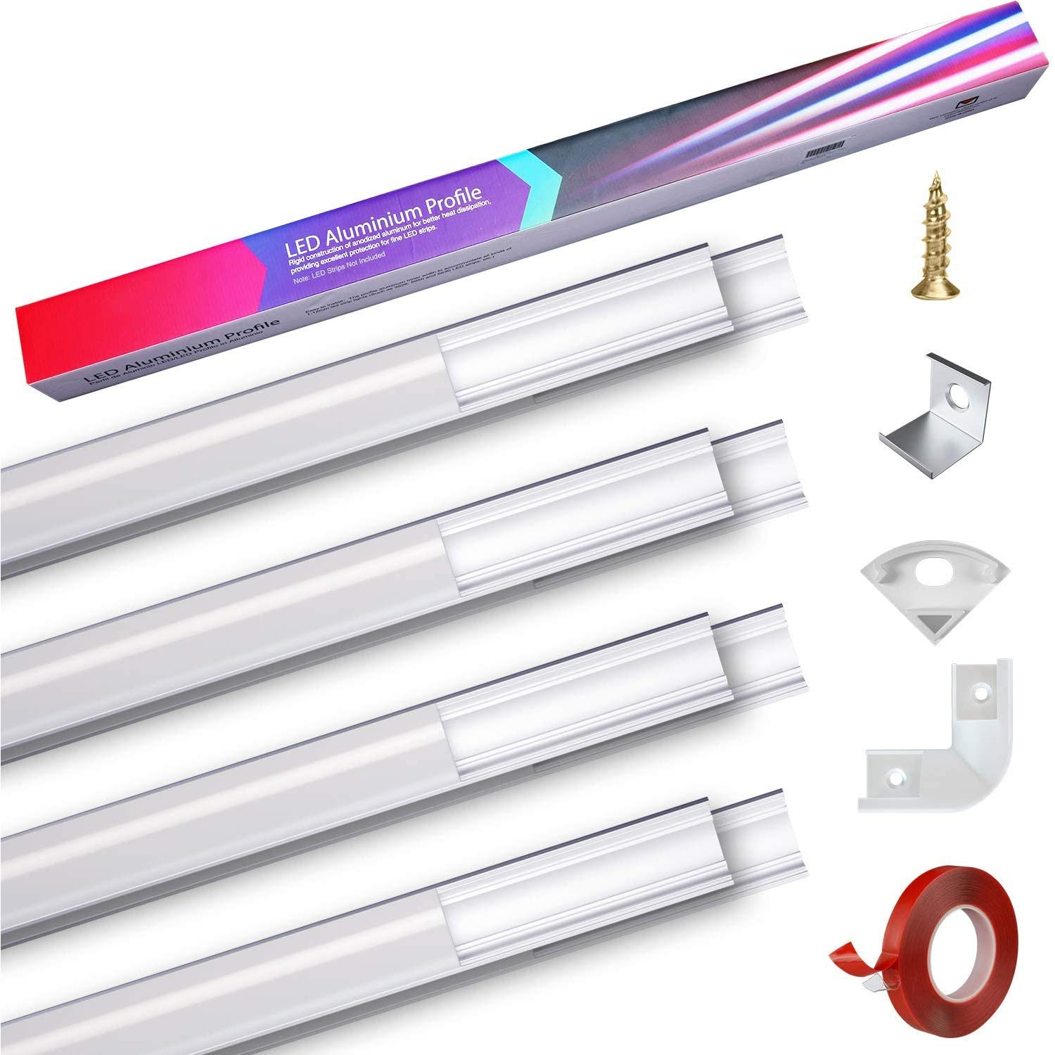 LED Aluminum Profile,Led Aluminum Channel V-Shape 8-pack 1M//3.3ft with PC Cover.LED Channels and Diffusers with 3M Adhesive,End Caps,Mounting Clips,for Flexible//Hard LED Strip Lights Lighting PEBA