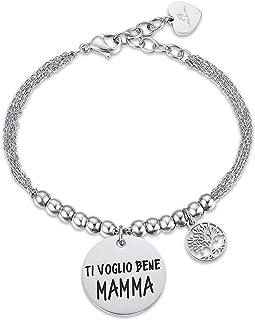Luca Barra Bracciale in Acciaio Ti voglio bene Mamma