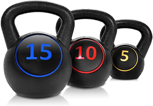 popular Giantex 3-Piece Kettlebell Weights Set, Weight Available 5,10,15 lbs, HDPE Kettlebell for Strength and lowest Conditioning, Fitness 2021 and Cross-Training, Black outlet online sale