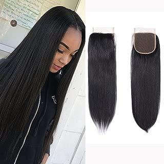 Brazilian Virgin Human Hair Lace Closure Straight 4x4 Free Part Silky Straight Human Hair Top Lace Closure 8A Grade 18 Inch Natural Black Color Closure Pieces
