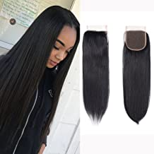 Brazilian Virgin Human Hair Lace Closure Straight 4x4 Free Part Silky Straight Human Hair Top Lace Closure 8A Grade 18 Inch Natural Black Color Closure Pieces