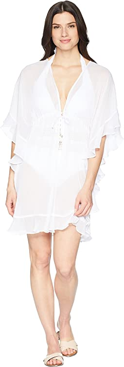 Open Front Ruffle Caftan Cover-Up
