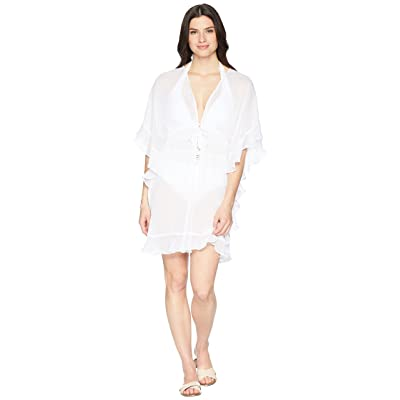 Bleu Rod Beattie Open Front Ruffle Caftan Cover-Up (White) Women