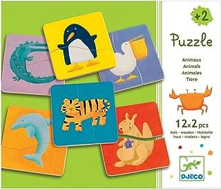 DJECO Color Animals 24Piece Wooden Beginner Puzzle Set, One Size, Multicolor