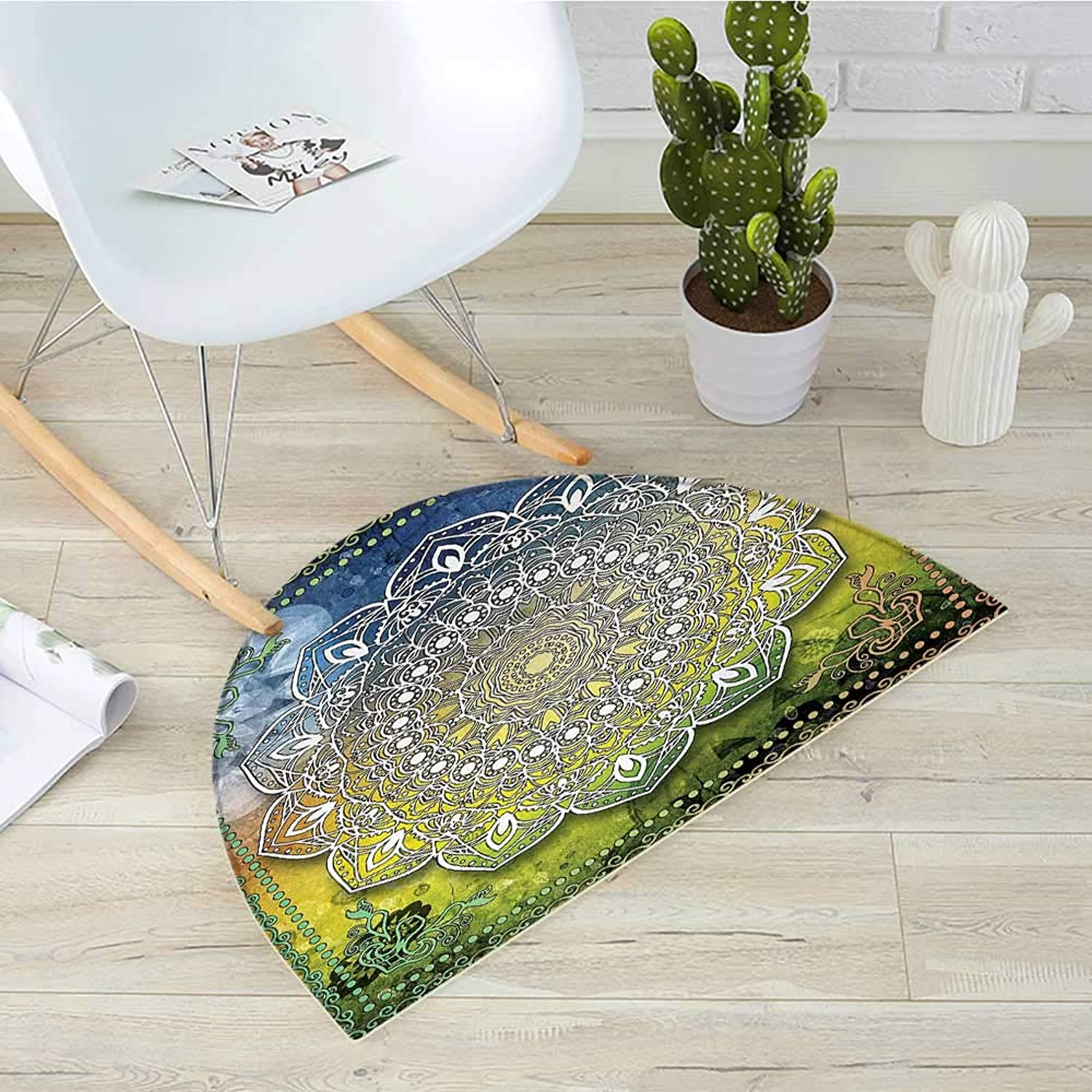 Ethnic Semicircle Doormat Mystic Asian Mandala Zen Culture Chakra Karma Calmness and Harmony Icon Boho Design Halfmoon doormats H 35.4  xD 53.1  Multicolor