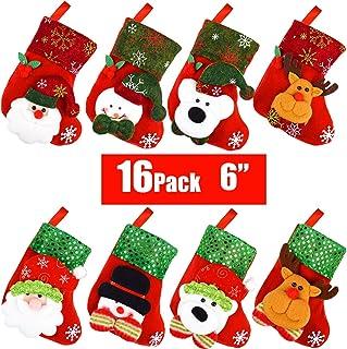 "Danirora Mini Christmas Stockings Bulk, [16 Pack] 6"" Small Xmas Stockings for Kids Goodie Bags - Santa Snowman Decoration ..."