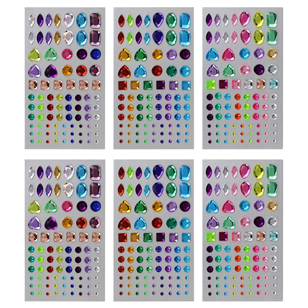 Hysagtek 6 Sheets Self-Adhesive Rhinestone Sticker Bling Craft Jewels Crystal Gem Stickers for Face, Makeup, Carnival, Crafts, Scrapbooking Embellishments Decorations, 3 Styles, Multicolor