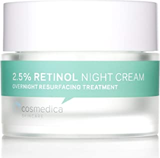 Cosmedica Skincare Retinol Night Cream - Daily Moisturizing Facial Lotion Night Cream. The best Retinol Cream with Vit A and Hyaluronic Acid to target skin concerns from Acne to Wrinkles (1.7oz)