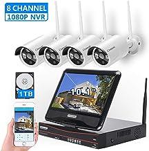 مانیتور سیستم دوربین مداربسته بی سیم 10.1 اینچی ، مانیتور دوربین مداربسته Cromorc Home CCTV Surveillance 4CH 1080P NVR Kit ، 4pcs 1.3MP 960P دوربین داخلی IP Outletor Night Bullet Bullet ، IP 1DB