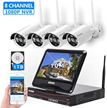 "[8CH, Expandable] All in one with 10.1"" Monitor Wireless Security Camera System,.."