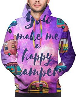 Summermf Mens Sweatshirts Camper Quotes Happy Camping Retro Style Hoodies 3D Print Pullover Hoodie Hooded Clothes Pockets
