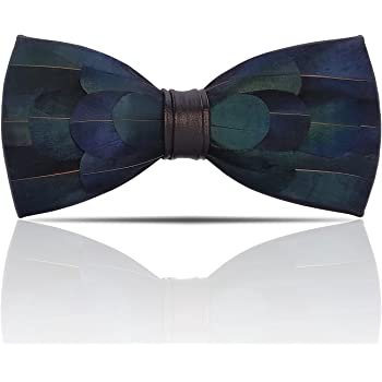 Lanzonia Feather Blue Mens Bow Tie