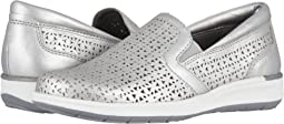 Silver Perforated Metallic Leather