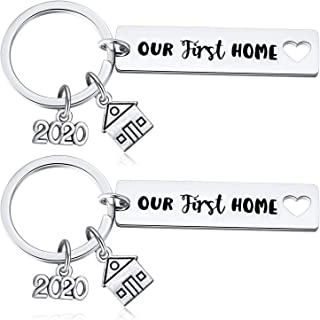 Our First Home Keychain 2020 New Home Key Chain, Housewarming Gifts, New Home Owner Key Ring, Couples Keyrings, Closing, Going Away Gifts for Friends Moving, Pack of 2