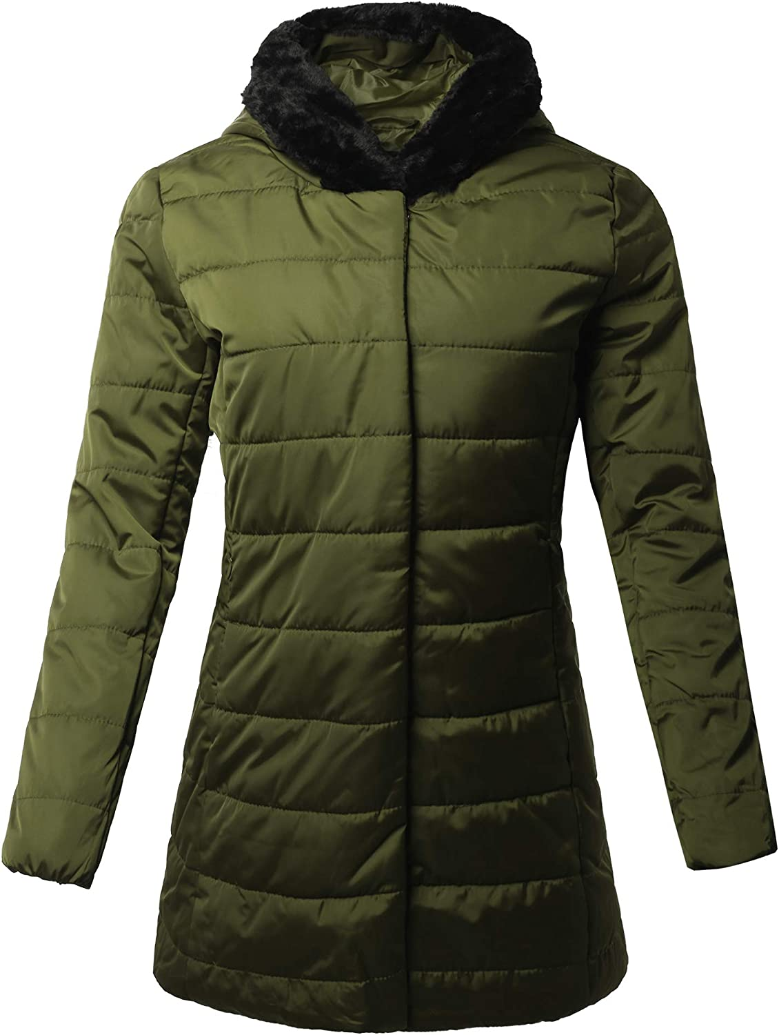 A2Y Women's Lightweight Faux Kansas City Mall Challenge the lowest price of Japan Fur High Outerwe Hoodie Neck Puffer