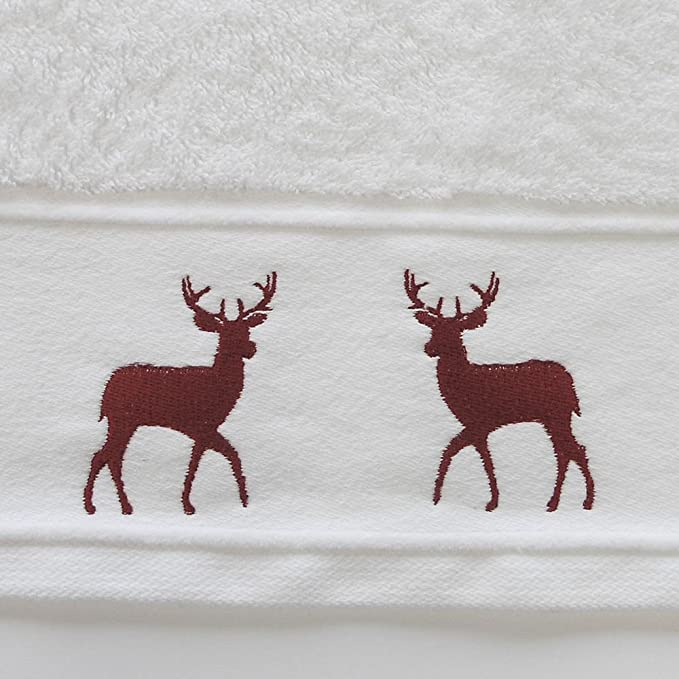 Guest Towel Reindeer Stag Embroidered Christmas Festive 100/% Cotton Supersoft Towel Red White