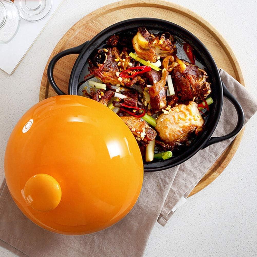 Pc-Hxl Tajine Marocain Traditionnel Céramique (28.5Cm Dia X 17Cm H 1,5L) Compatible avec Toutes Sources De Chaleur Induction Et Four Inclus,Orange Orange