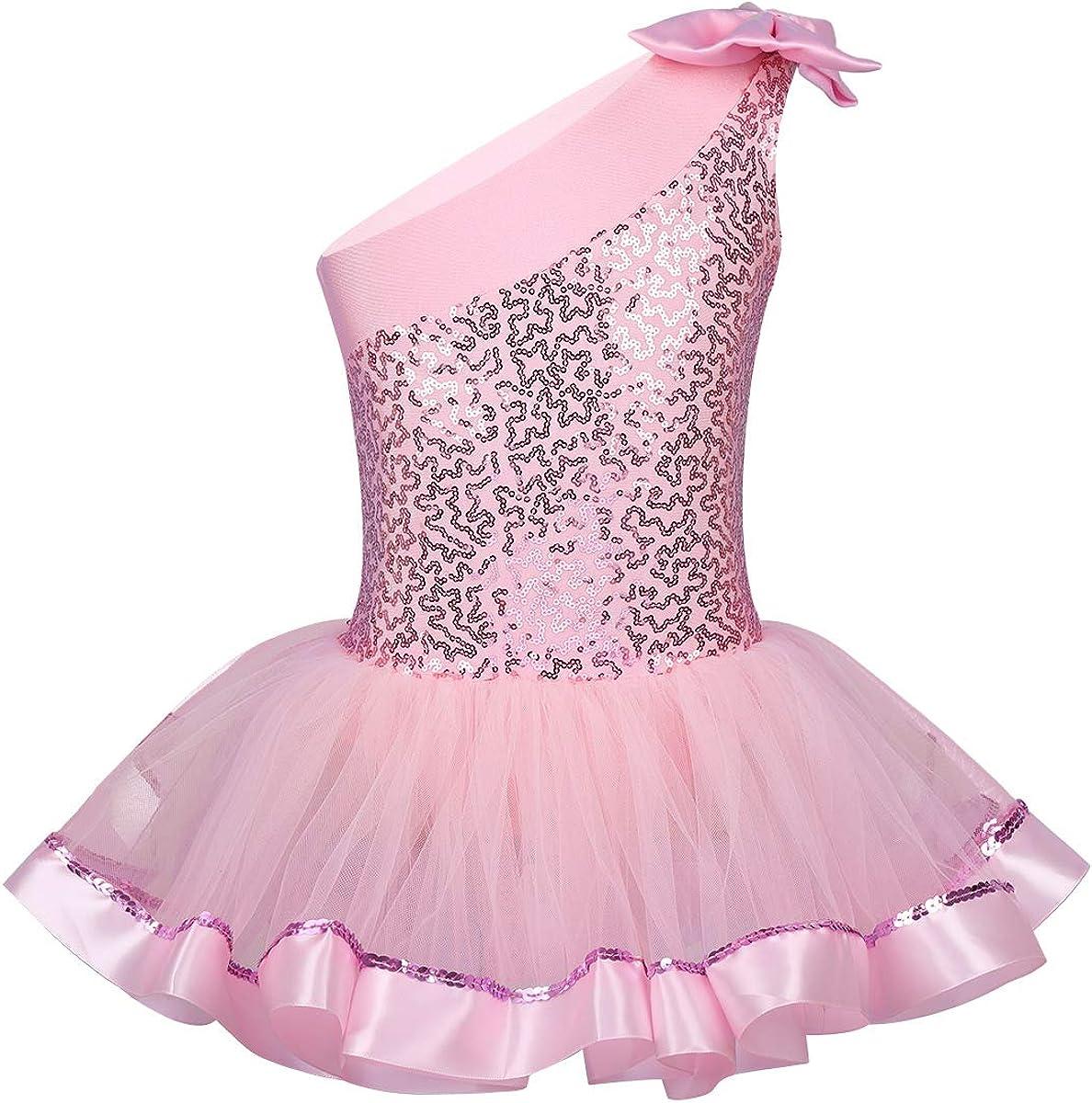 iiniim Girls Ranking TOP13 Shiny Sequins One Dance Gymnastics Ballet Shoulder Sacramento Mall