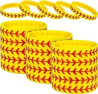 Jovitec Softball Bracelet Softball Wristband Silicone Bracelet Softball Gift for Softball Player and Softball Teams