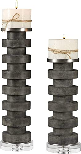 high quality Uttermost Karun Charcoal new arrival Concrete 2-Piece outlet online sale Pillar Candle Holder Set online sale