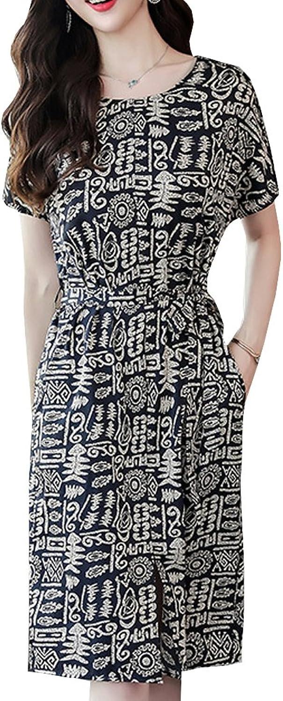 Dissa S8816 Women Vintage Short Sleeve Midi Cocktail Plus Size Silk Summer Dress