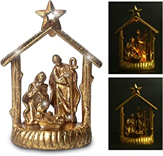 Trail Watcher Lighted Nativity Home Decoration Lights LED Jesus Holy Figurine Style Home Religious Decor (Gold)