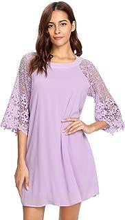 Women's Casual Crewneck Half Sleeve Summer Chiffon Tunic Dress