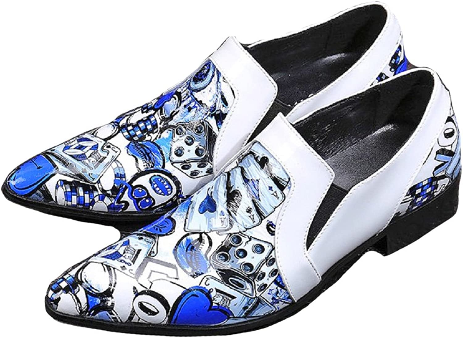 Cover Plus New Fashion White Art Print Leather Mens Slip On Dress Casual Loafers shoes