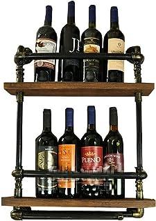 XHCP Organisation de Rangement de Cuisine Support Mural pour casier à vin à 2 Niveaux en métal pour 5 Bouteilles Debout Li...