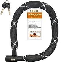 nean Candado para cadena de bicicleta con eslabones cuadrados, revestimiento de tela y 2 llaves de seguridad, 6 x 6 x 900 mm, color negro
