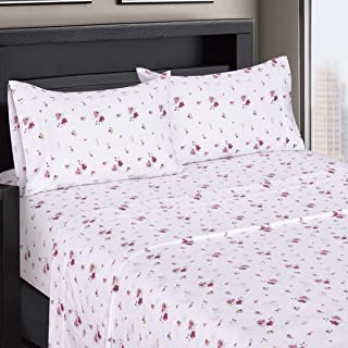 Zahra Floral Sateen Cotton Sheets, 3pc Twin Extra Long Bed Sheet Set 100% Cotton, Superior Sateen Weave, Silky Soft, Deep Pocket, Modern Reactive Print, 300 Thread Count