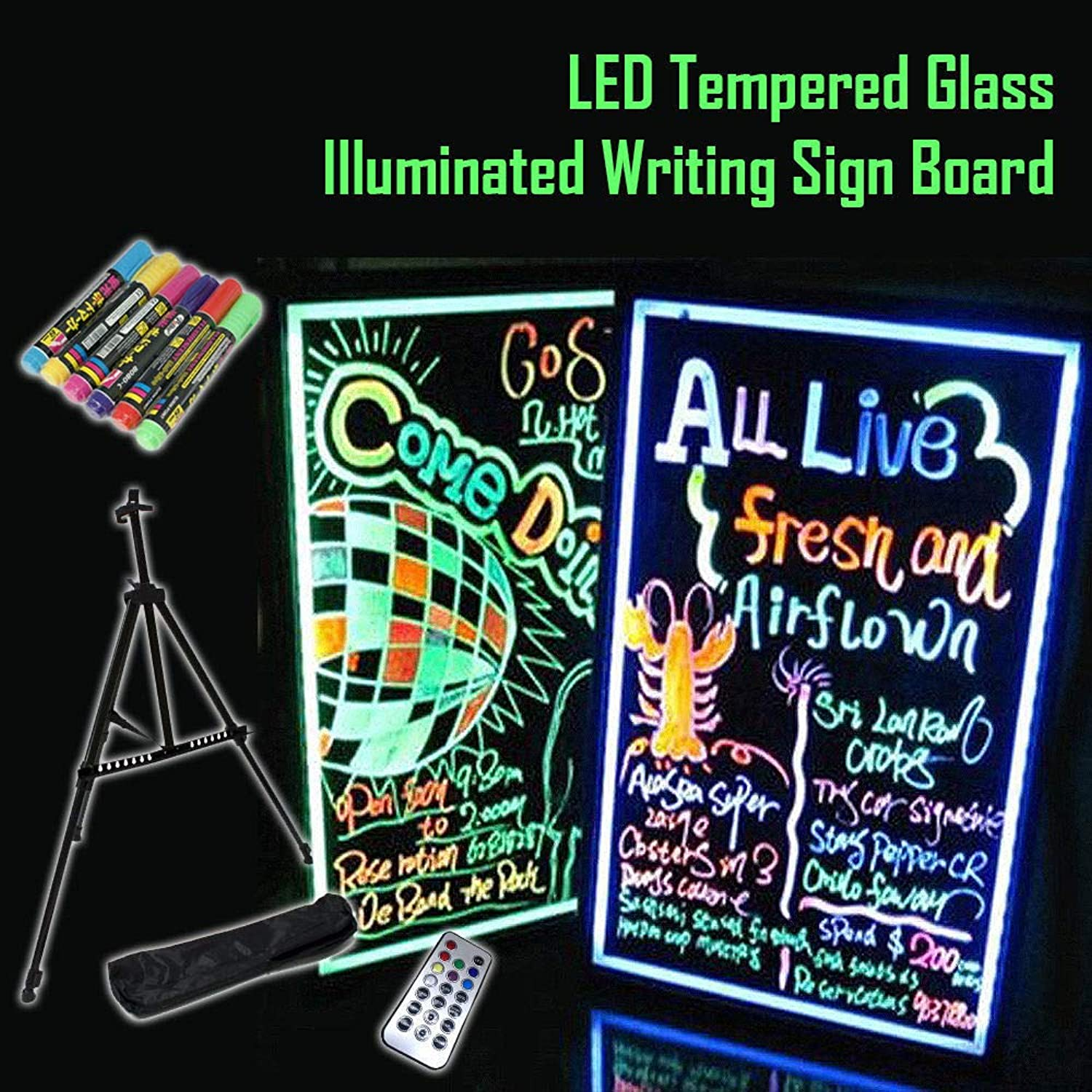 BCreative LED Tempered Glass Neon Illuminated Menu Sign Writing Board + Remote + Pens (40cm x 60cm   with TRIPOD)
