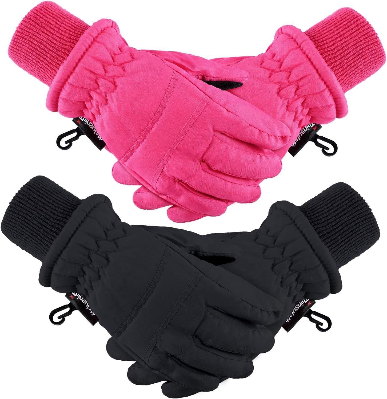 2 Pairs Kids Winter Ski Gloves Waterproof Warm Snow Mittens Full Finger Gloves for Toddlers Infants