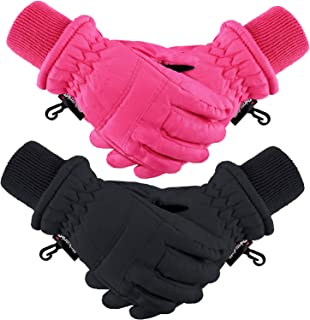 Boao 2 Pairs Kids Winter Ski Gloves Waterproof Warm Snow Mittens Full Finger Gloves for Toddlers Infants